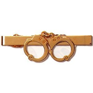 HWC POLICE SECURITY GUARD OFFICER PRIVATE INVESTIGATOR DETECTIVE HANDCUFF UNIFORM TIE CLIP GOLD FINISH, GREAT DEAL !