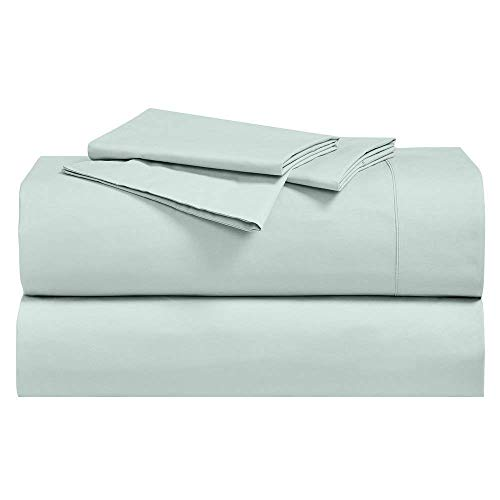 (Royal Hotel Abripedic Crispy Percale Sheets, 300-Thread-Count, 4PC Solid Sheet Set, 100% Cotton, 22 Inch Super Deep Pocket, Queen, Sea)