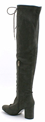 Faux High Womens Thigh Suede 8 Shelikes 3 Boots UK Grey BPafqWf5xw