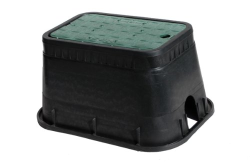 NDS D1000-SG Rectangle Valve Box with Drop-In Cover, 10-Inch by 15-Inch by 10-Inch, Black/Green (Covers Valve Water)