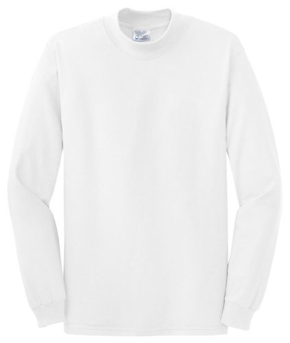 Heavyweight Mock Turtleneck - Port & Company Mock Turtleneck, White, Large