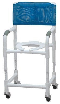 Lumex 89150 PVC Shower Commode Chair with Adjustable Height, 18'' by Lumex