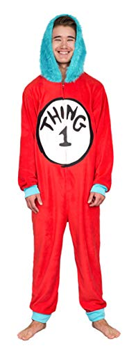 Dr Seuss Thing 1 to 6 Interchangeable Patches Fur Adult or Kids Union Suit with Hood (Adult, -