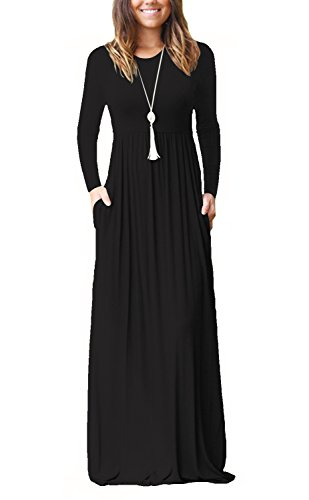 FAVALIVE Casual Long Dresses for Women with Pockets Swing Maxi Dress Plus Size Black 2XL