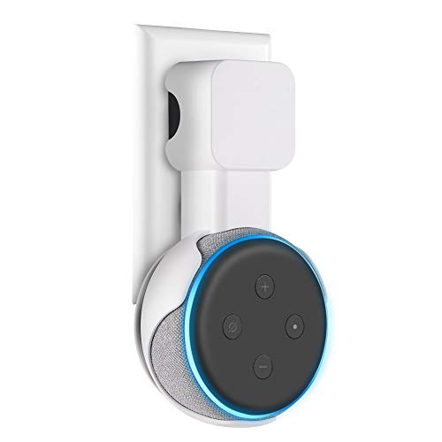 Price comparison product image Aotnex Outlet Wall Mount Hanger Stand for Echo Dot 3nd Generation,  Upgraded Space-Saving Solution with Cord Management for Your Smart Home Speakers Without Messy Wires or Screws (White)