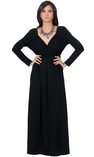 KOH KOH Womens Long Sleeve Empire Cocktail Elegant Evening Versatile Maxi Dress