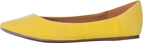 Breckelles Women's TALIA-31 Faux Suede Pointed Toe Ballet Flats Yellow 8