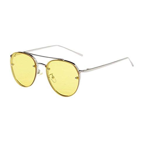 Bluestercool Hommes Femmes Mode Lunettes de soleil circulaires Lunettes de soleil en métal Marque Classic Tone Mirror Rétro Lunettes de soleil transparent (C) W6TBMEGM