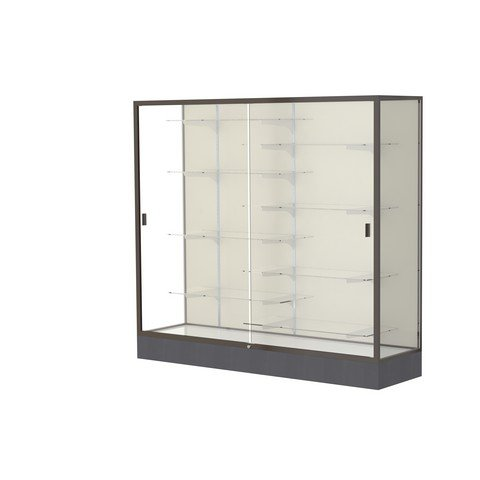 Aluminum Waddell Frame (Waddell Manufacturing Company Waddell 2606-PB-BZ Colossus 72 x 66 x 20 in. Aluminum Frame Floor Display Case with Black Laminate Base44; Plaque Back - Dark Bronze)