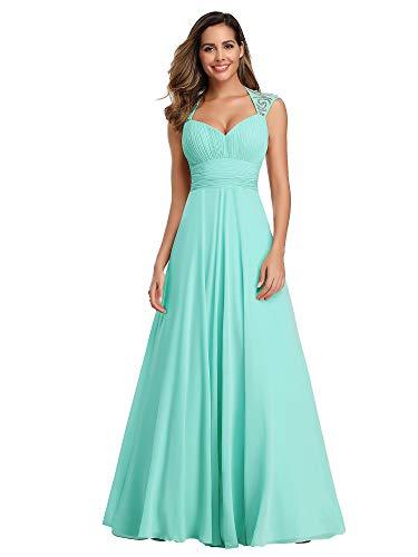 Ever-Pretty Womens V Neck Ruched Bust Long Evening Dress 6 US Aqua