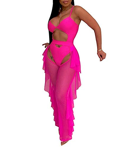 - Women Sexy See Through Sheer Mesh 2 Pieces Outfits Jumpsuits Crop Top and Hollow Out Ruffle Long Pants Rose Red