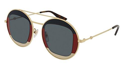 Gucci Round Sunglasses (Sunglasses Gucci GG 0105 S- 005 GOLD/BLUE)