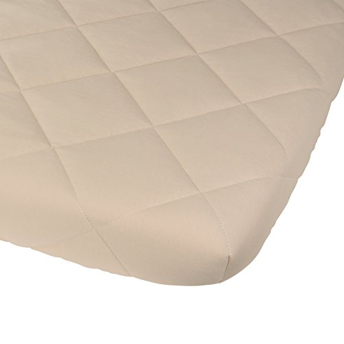Image result for Waterproof Cotton Quilted Pack n Play Mattress Cover | Mini Crib Mattress Cover | All in one Mattress Pad Cover and Cozy Pack n Play Sheet Hypoallergenic, Cream by Ely's & Co