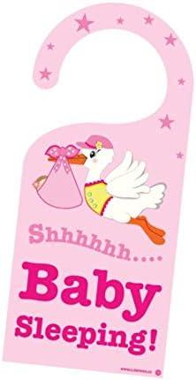 Cute News Baby Girl Sleeping Stork Door Hanger - Do Not Disturb or Knock - Newborn Sign - Great Gift for Parents - Pink