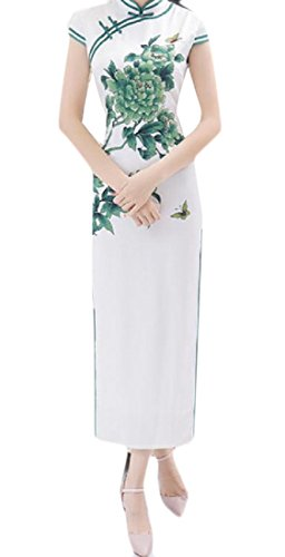 Sleeve Women 6 Split Collar Short Comfy Chinese Clothing Mandarin Print awxSR