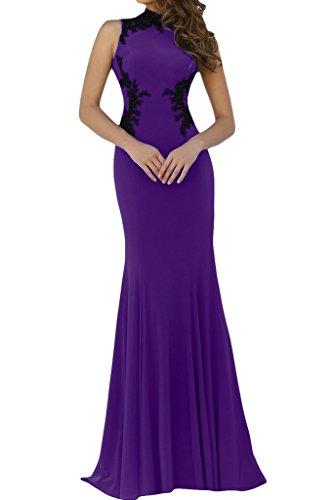 Damen Spitze Stehkragen Promkleid Ivydressing Partykleid Mermaid Hochwertig Abendkleid Traube Applikation xZqnvw