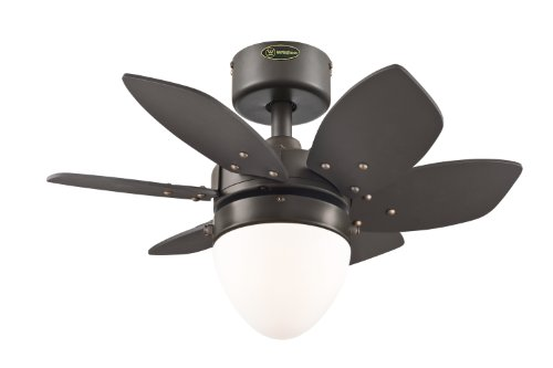 Westinghouse  7222900 Origami Single-Light 24-Inch Reversible Six-Blade Indoor Ceiling Fan, Espresso with Opal Frosted Glass - Small Fan Ceiling