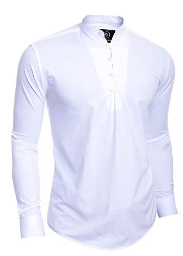 (D&R Fashion Mens Henley Long Sleeve Shirt Smart Casual Grandad Collar Button Loops Holiday White)