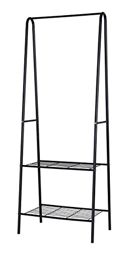 Home-Like 2-Tier Garment Rack Black Metal Coat Rack Shoes Clothes Storage Shelves Indoor/Outdoor Heavy Duty Drying Rack L24.02
