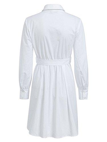 Women's Mini Dresses Sleeve BerryGo Dress Puff Waist Pleated White Lapel High AddTq8w