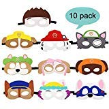 Dlazm Puppy Party Birthday Masks for Paw Patrol Toys-Party Supplies for Kids (Set of 10) -