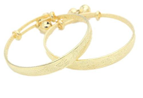 [Loyoe Jewelry 24k Yellow Gold Plated Baby's Bracelet Adjustable Children's Bangle(2pcs/lot)] (Gold Adjustable Baby Bangles)