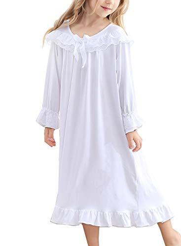 PUFSUNJJ Toddler Girls' Lace Nightgowns & Bowknot Long Sleeve Sleep Shirts 3-12Years -