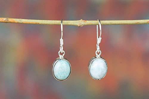 Handmadejewelry - Beautiful Handmade Larimar Gemstone Earrings   925 Sterling Silver   Classic Danglers for Women   Vintage Design   Oval Shape   Perfect Gift for Females   Birthstone Jewelry