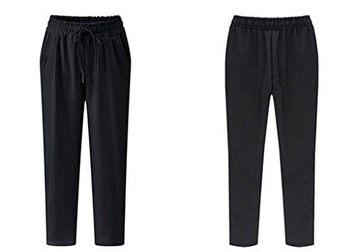 Femme Lâche Bigood Noir Uni Souple Pantalon Harlan Longue Vogue R66nr5qdzw