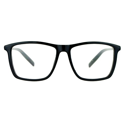 SA106 Black Large Thin Plastic Horn Rim Clear Lens Eye Glasses - Plastic Rim Clear Glasses