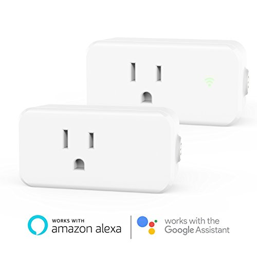 Alexa Smart WiFi Plug Mini - Maxcio 15A Wifi Socket Outlet (2 Packs) with Energy Monitoring, Compatible with Alexa and Google Assistant, Control Your Lights, Appliances from Your Phone (15a Remote)