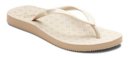 Vioinc Women's Beach Noosa Flip-Flop Sandal - Ladies Thong Sandals Concealed Orthotic Arch Support Cream Woven 7 M US