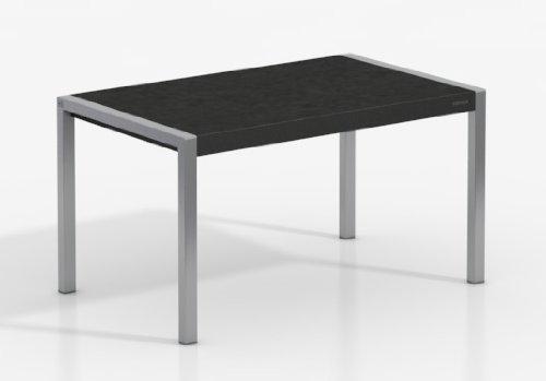 MESA EXTENSIBLE CONCEPT - Encimera Porcelanico Basalto/Patas Aluminio, 160X90 cms
