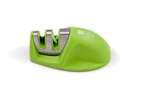 Smarter Edge Kitchen Knife Sharpener by Chefs Vision - Green V-Shape 2 Stage Sharpener - Blade Sharpener Tool - Colored Small Knife Sharpener - Top Rated Knife Sharpening - Afilador de Cuchillos