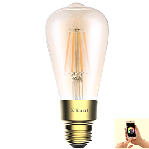 Light 1 Medium Edison - Smart Wi-Fi Amber LED Edison Light Bulb,ST21(ST64) E26 6.5Watt(60W Equivalent),Dimmable,Soft White 2700K,650LM, CRI>80ra,PF>0.9,No Hub Required,Compatible with Alexa&Google Assistant(1P Amber Glass)