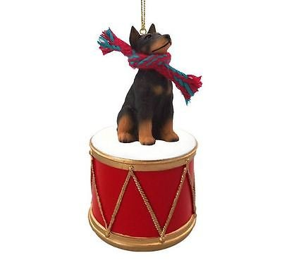 Simply Silver - DOBERMAN BLACK w/ DRUM DOG CHRISTMAS ORNAMENT HOLIDAY Figurine Scarf gift