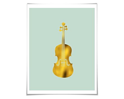 Folio Violin - Violin Gold Foil Art Print. 36 Colours/3 Sizes. Musical Poster Gift for Musician Classical Music Decor Art