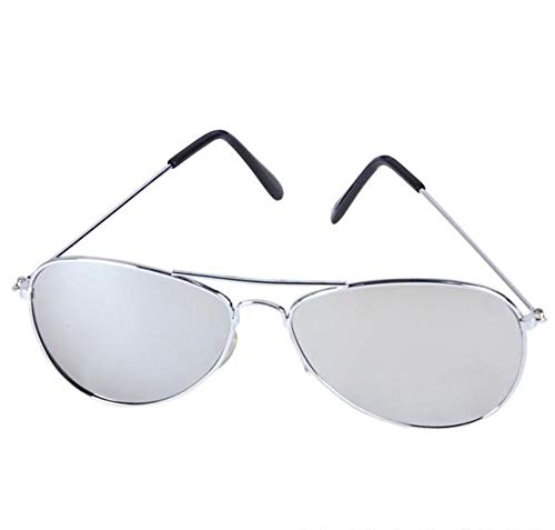 Rhode Island Novelty Aviator Sunglasses Mirror Lenses with Silver Frame One ()
