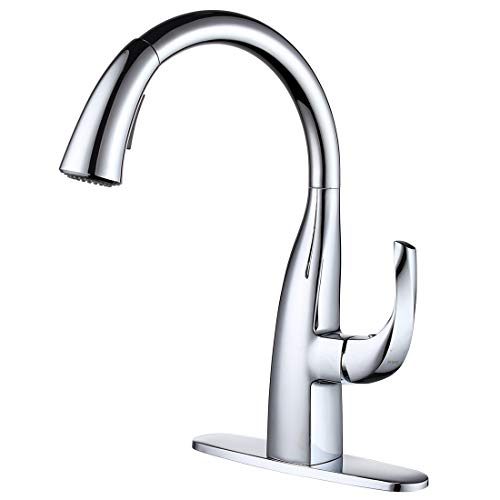 WOWOW Kitchen Faucet with Sprayer, Pull Down Kitchen Faucet with Dual Function Sprayer, Single Handle, Leak Free 360 Degree Rotatable Elegant Swan-Neck Design (Chrome)