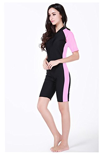 [KUTU sunscreen clothing couples short-sleeved diving suits surfing suit wetsuit snorkel clothing swimwear (Ladies Pink,] (Rip Curl Swimming Costumes)