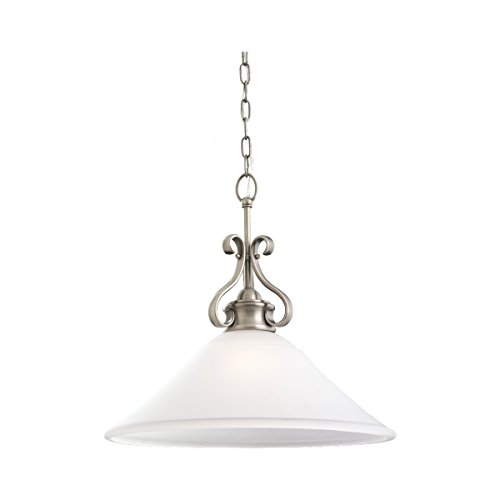 - Sea Gull Lighting 65380-965 Single-Light Pendant, Satin Etched Glass Shade and Antique Brushed Nickel
