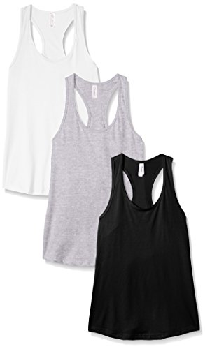 (Clementine Apparel Women's Petite Plus Ideal Racerback Tank (Pack of 3), Black/White/Heather Grey, L)