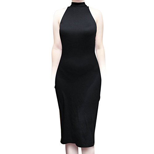 ShopMyTrend SMT Women's Sleeveless Sexy High Neck Bodycon Midi Casual Work Office Dress Black (L)