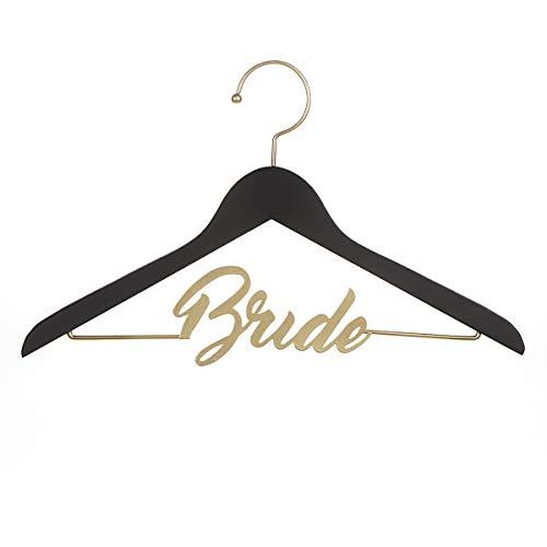 David Tutera 30021641 Bride Chalkboard Hanger: Black & Gold, Gold