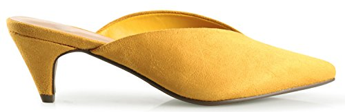 Picture of LUSTHAVE Women's Farrow Slip On V Cut Pointy Toe Mules Kitten Mid Heel Loafer Sandals Shoes