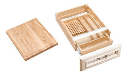 Rev-A-Shelf Combination Knife Holder/Cutting Board Drawer Organizers, Natural