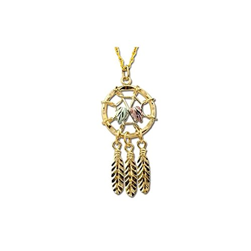 Diamond-Cut Dream catcher Pendant Necklace, 10k Yellow Gold, 12k Green and Rose Gold Black Hills Gold Motif, 18