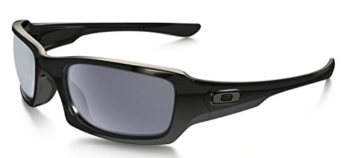 Oakley Men's Fives Squared Sunglasses,Polished Black Frame/Grey Lens,one size