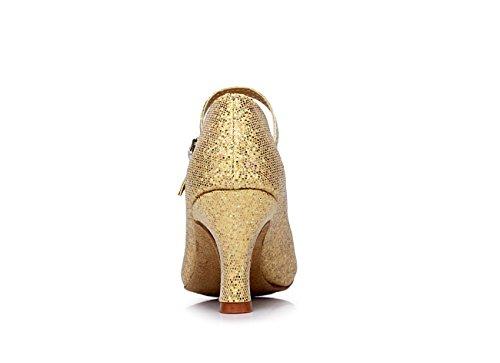 ShangYi Modern dance shoes women's adult dance shoes friendship dance sequins soft bottom Latin shoes, with height 7cm Golden