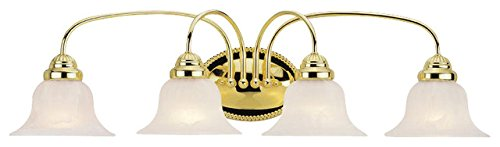 Bathroom Vanity 4 Light With White Alabaster Glass Polished Brass size 31 in 400 Watts - World of Crystal